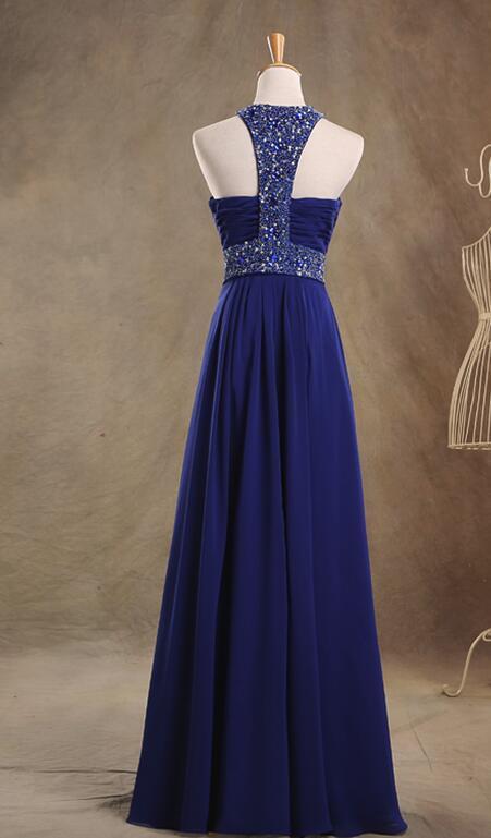 Blue Chiffon Custom Made A-line Junior Prom Dress, Pretty Prom Dress 2019