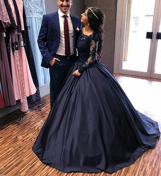 Blue Lace and Satin Ball Gown Prom Dress with Long Sleeves, Blue Evening Dresses