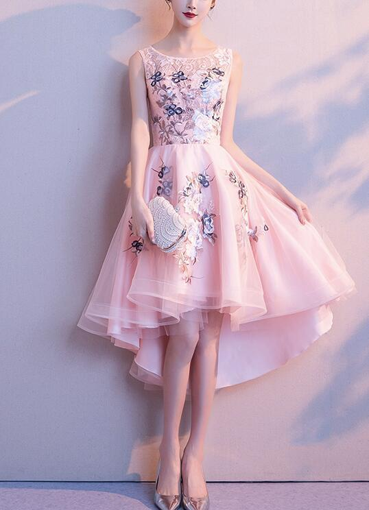 Pink Lace and Tulle High Low Lovely Party Dress, Pink Homecoming Dress