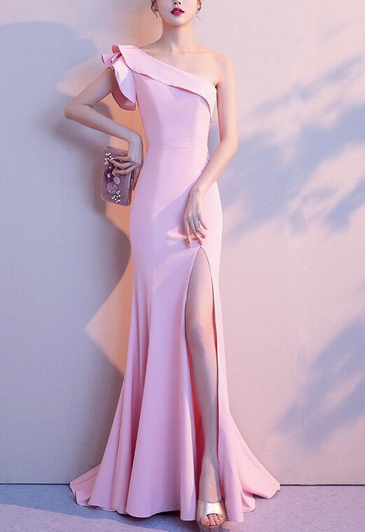 Sexy One Shoulder Slit Mermaid Long Prom Dress, Pink Evening Party Dress