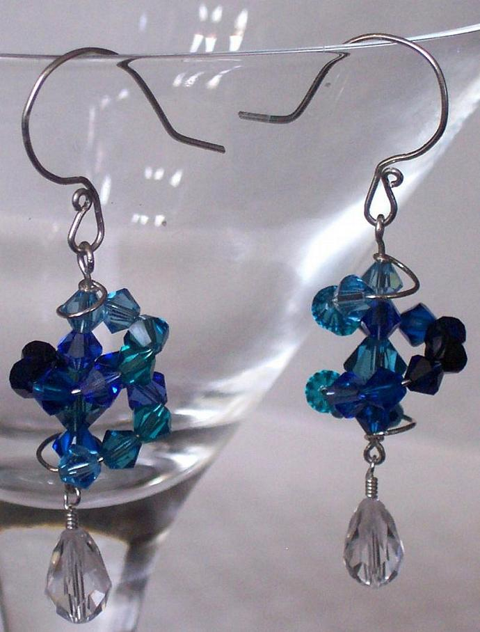 Deep Ocean Dizzy Drop Earrings