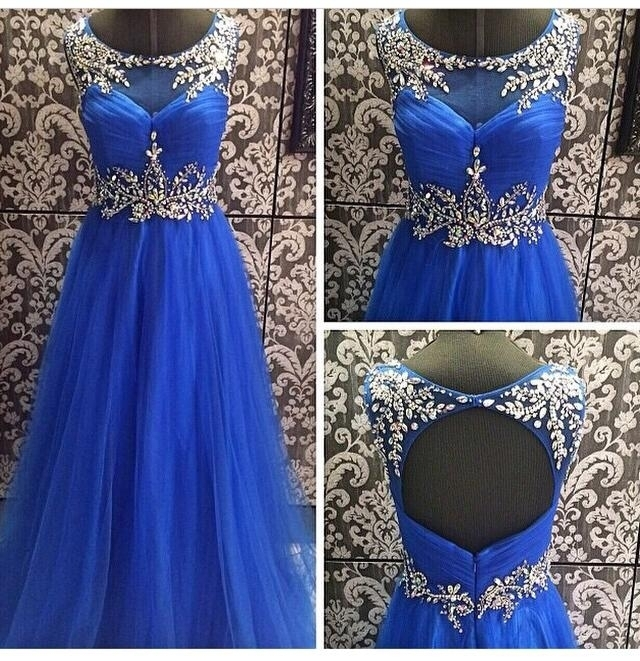 Blue Prom Dress,Modest Prom Gown,Ball Gown Prom Gown,Princess Evening Dress,Ball