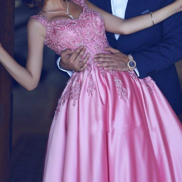 Embroideried Ball Gown Satin Prom Dresses