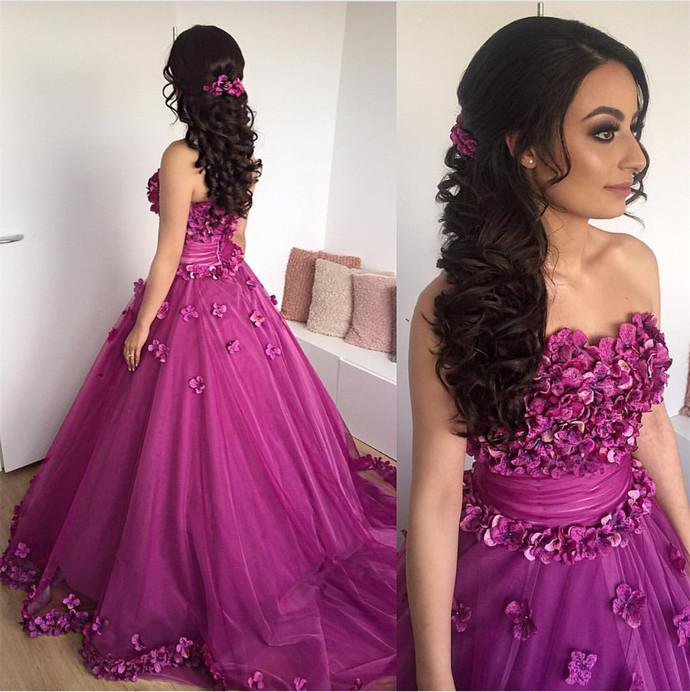 purple quinceanera dress,ball gowns prom dress,flower prom dresss