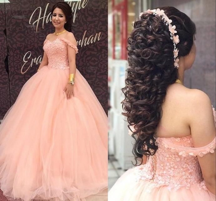 Hand Made Flowers Ball Gowns Wedding Dresses,Pink Prom Dresses Ball Gown,Party