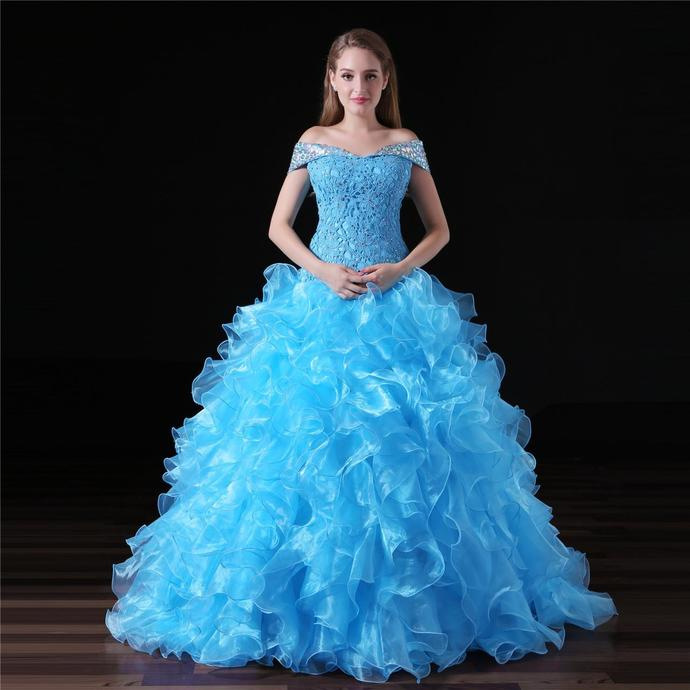 Classic Blue Quinceanera Dress,High Quality Organza Lace Ball Gowns,Debutante