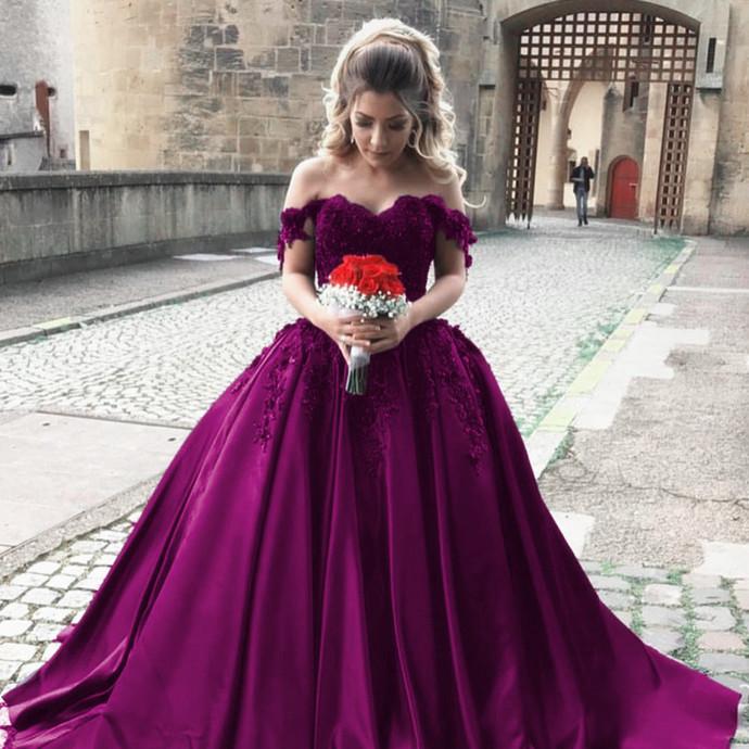 Cheap wedding dresses,satin wedding gowns,off shoulder bride dress,elegant