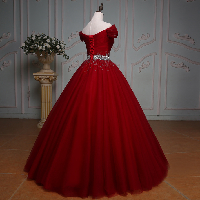 off the shoulder crystal beaded sashes red tulle ball gowns prom dress,red