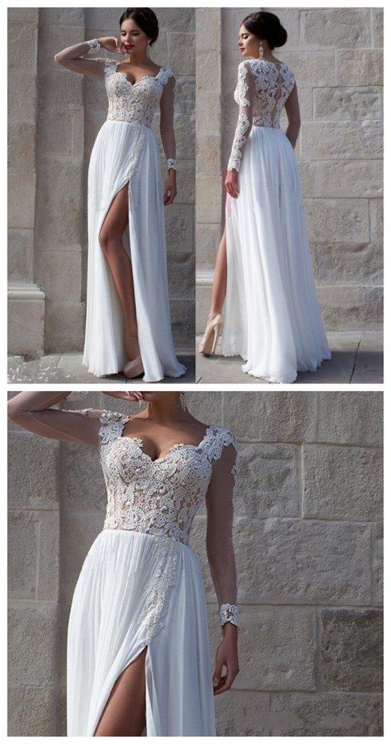White Lace Side Slit Elegant Prom Dresses, Cheap Custom Wedding Dresses,Long