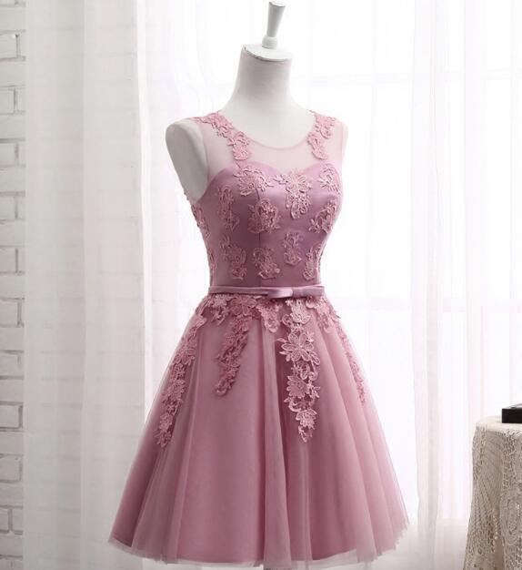 Cute Teen Short Homecoming Dresses,Lace Prom Dress, Tulle Cocktail Dresses mini