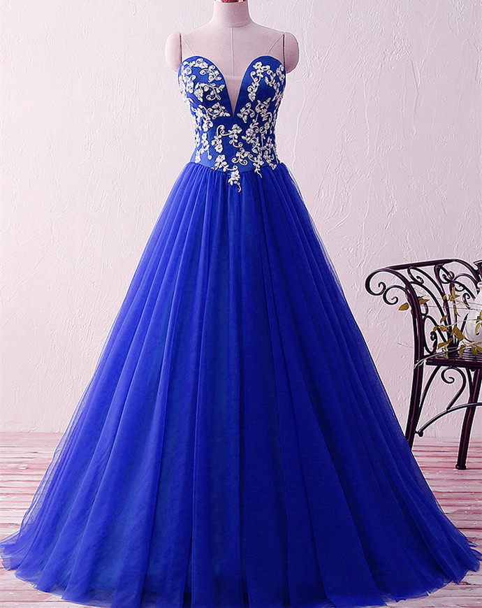 Royal Blue Sweetheart Appliques Beaded Evening Dresses Ball Gowns