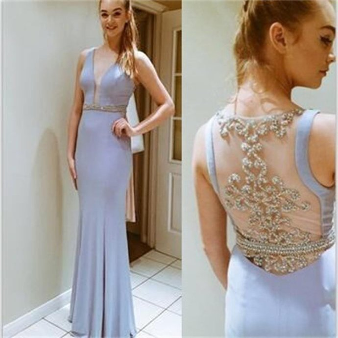 Deep V-Neck Prom Dresses, Side Slit Prom Dresses, Pretty Dresses, See-through