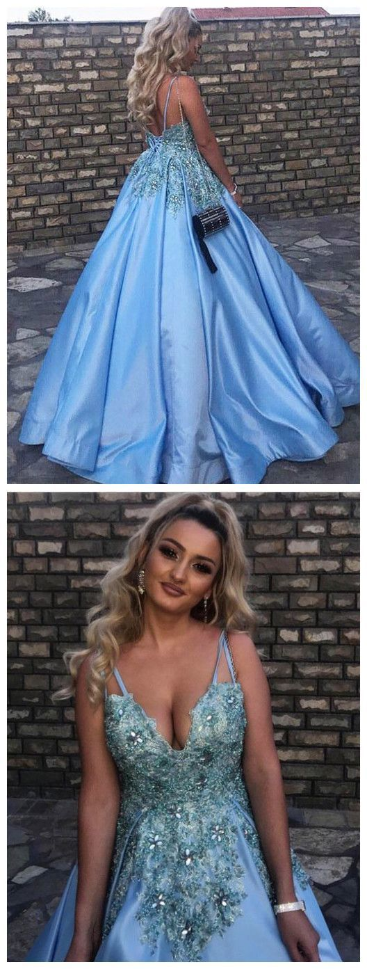 Ball Gown Prom Dress, Formal Evening Dress, Blue Prom Gowns Women Dresses