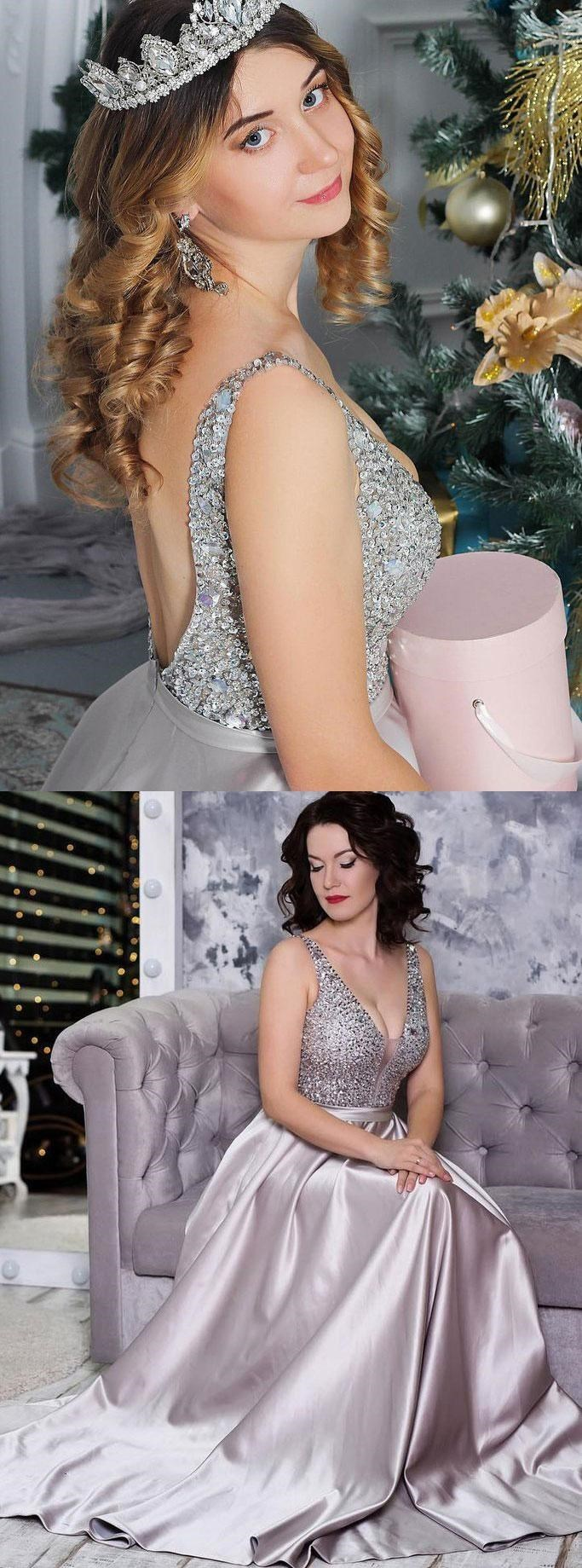 Long Prom Dresses, V Neck Silver Sequins Ball Gowns, Quinceanera Dresses