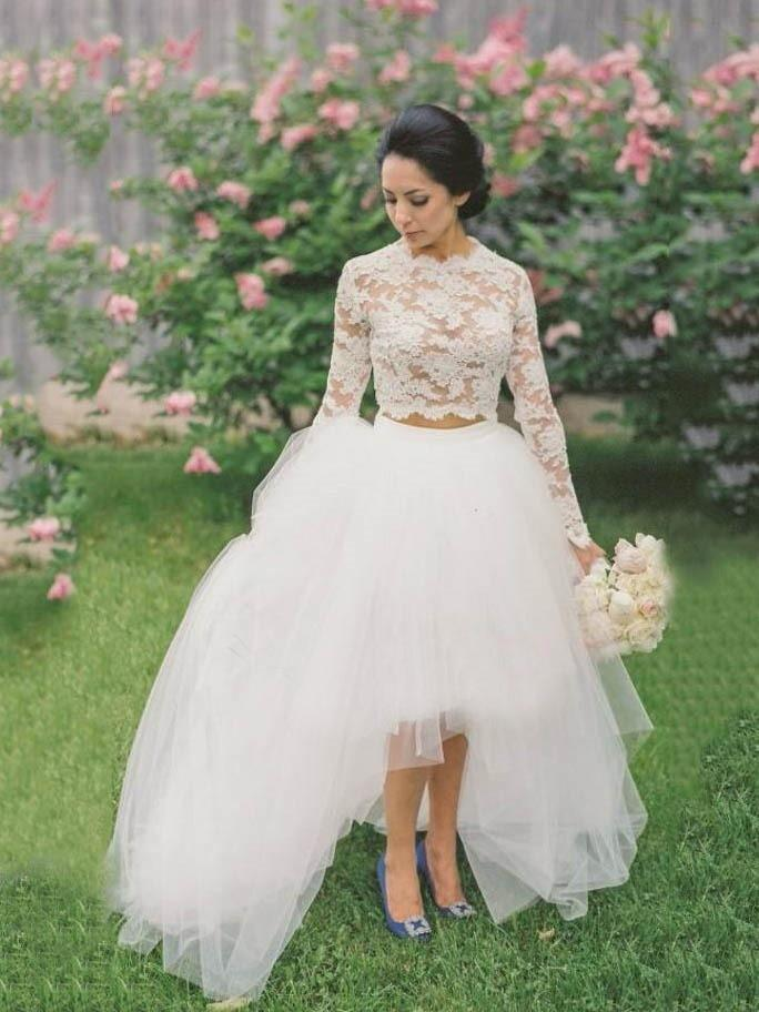 Romantic Wedding Dress,Lace wedding  Gown,Tulle Prom Dress,Two Pieces Prom Gown