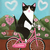 Valentine Love Bicycle Ride Original Cat Folk Art Painting