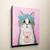Grey Tuxedo Cat Pink Frap Coffee Original Cat Folk Art Painting