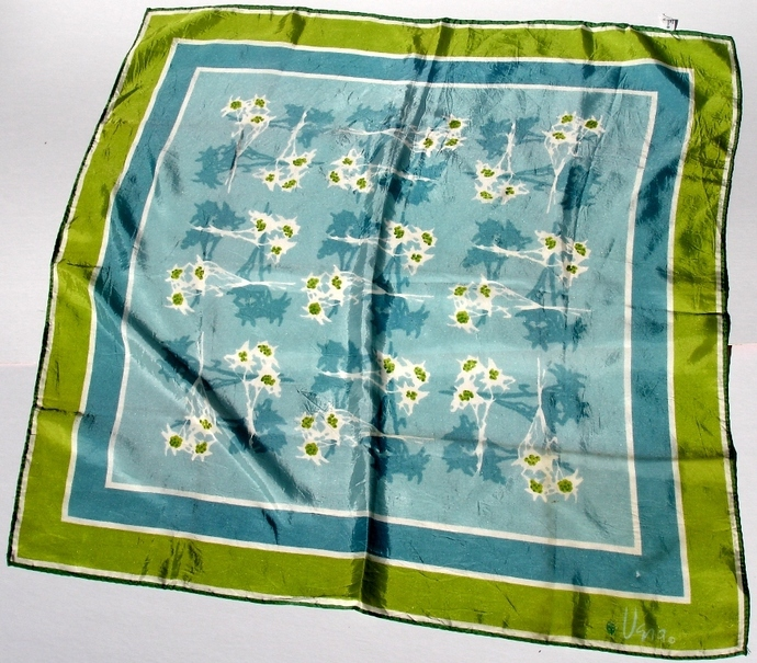 Vera Neumann Lime Green Teal And White Stylized Floral Ladybug Scarf