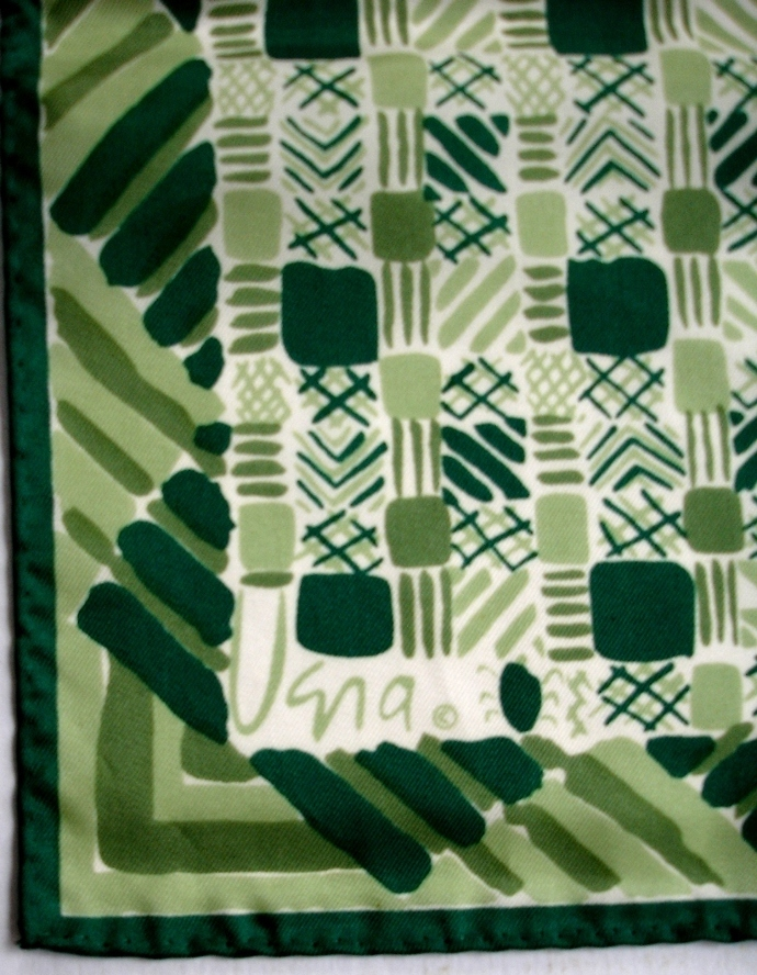 Vera Neumann Green White Geometric Squares And Triangles Ladybug Scarf
