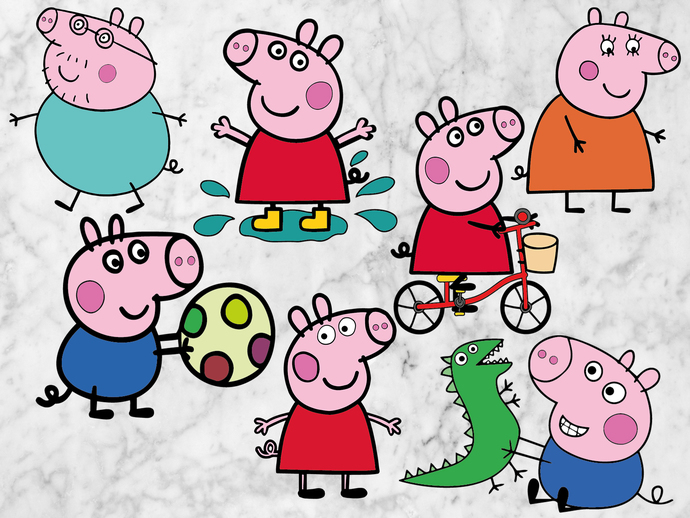 Peppa Pig svg files, Peppa pig cut files, clipart, eps vectors, dxf files for