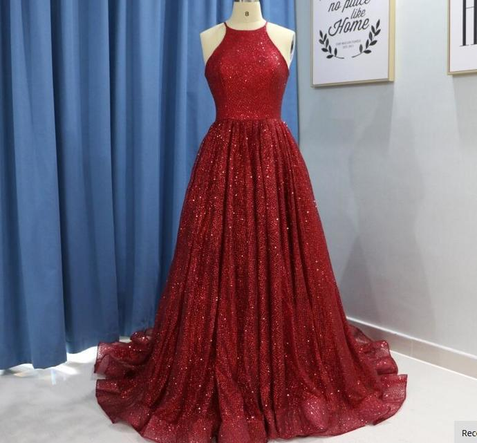 New Arrival Red Sequin Formal Evening Dress Yousef Aljasmi Arabic Halter Long