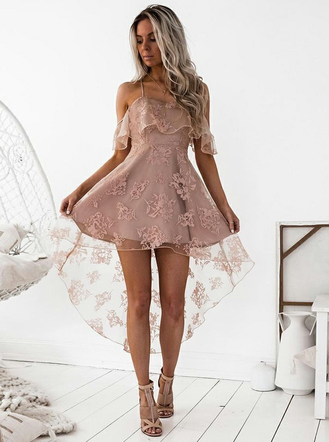 Homecoming Dress Lace, High Low Homecoming Dress, A-Line Homecoming Dress, Blush