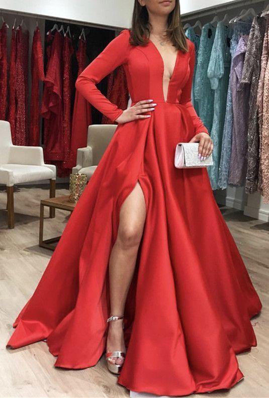 ee6281261f9 Long Sleeves Satin Red Prom Dresses Leg Slit by ModelDressy on Zibbet