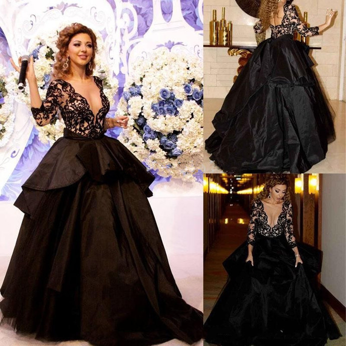 Cheap prom dresses 20178,Prom Dress, Lace V-Neck Lace Sleeves Sexy Open-Back