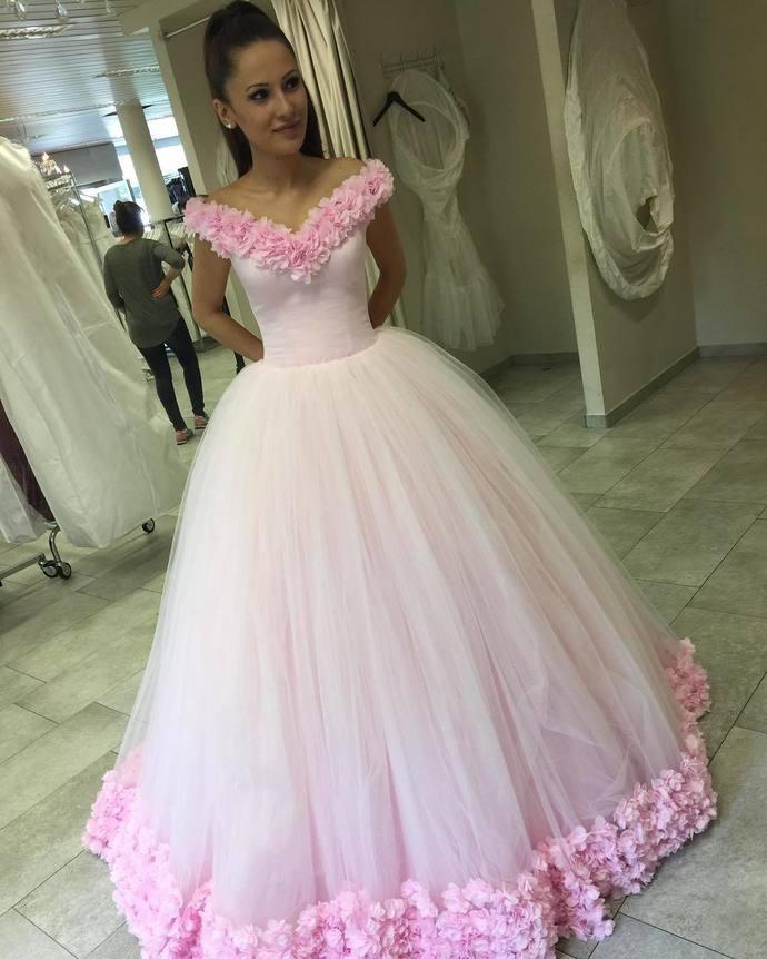 b839e086c New Arrival Prom Dress,Modest Prom Dress,Flower wedding dress,pink wedding