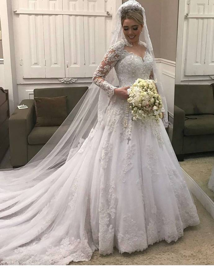Cheap wedding dresses 2018,High Neck Lace Long Sleeves Wedding Dress ,Illusion