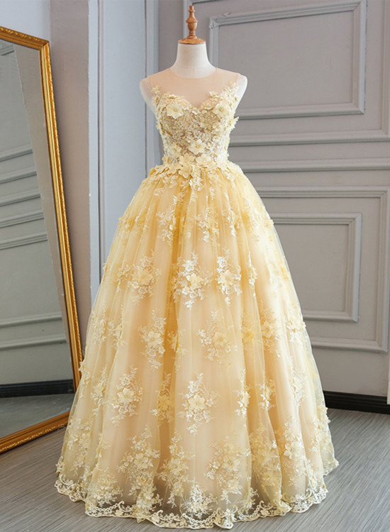 c4f6e2dbc63 Champagne Organza and Lace Prom Gown
