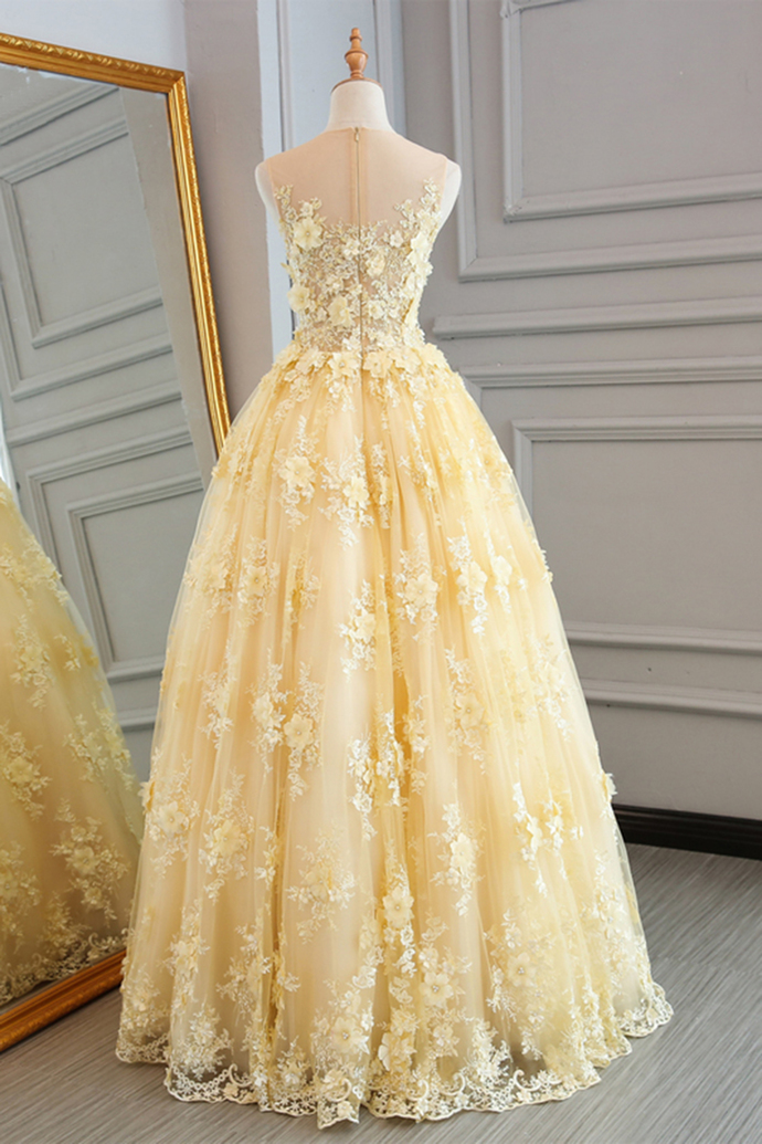 Champagne Organza and Lace Prom Gown, Junior Prom Dress, Party Dress
