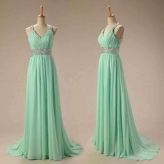 fe65e2efff4 Mint Green Chiffon Beaded Cross Back Long by BeMyBridesmaid on Zibbet