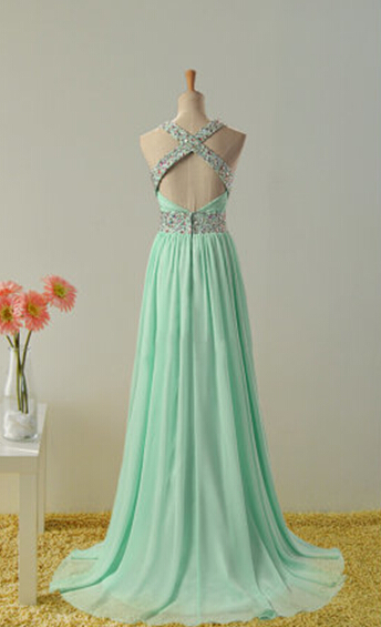Mint Green Chiffon Beaded Cross Back Long Prom Dress, Junior Prom Dress, Party