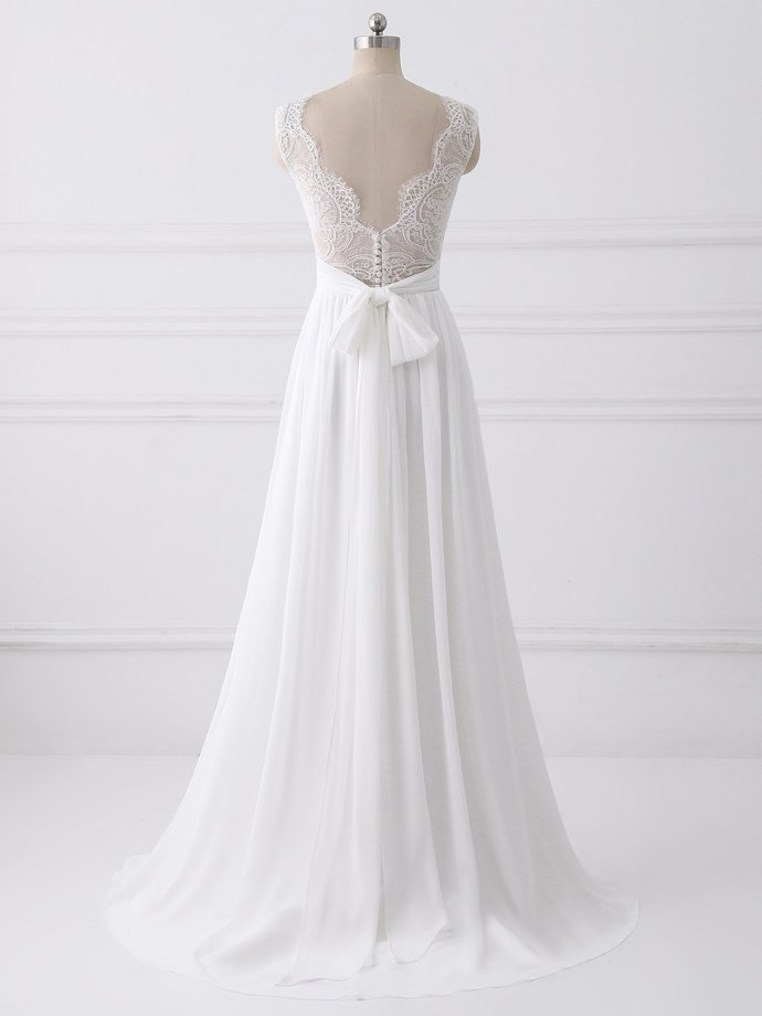 Beautiful White Chiffon Party Dress, Simple Beach Wedding Dress with Bow,