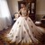 Tulle Gold Lace Applique Ball Gown Wedding Dresses Muslim Scoop Neck Long