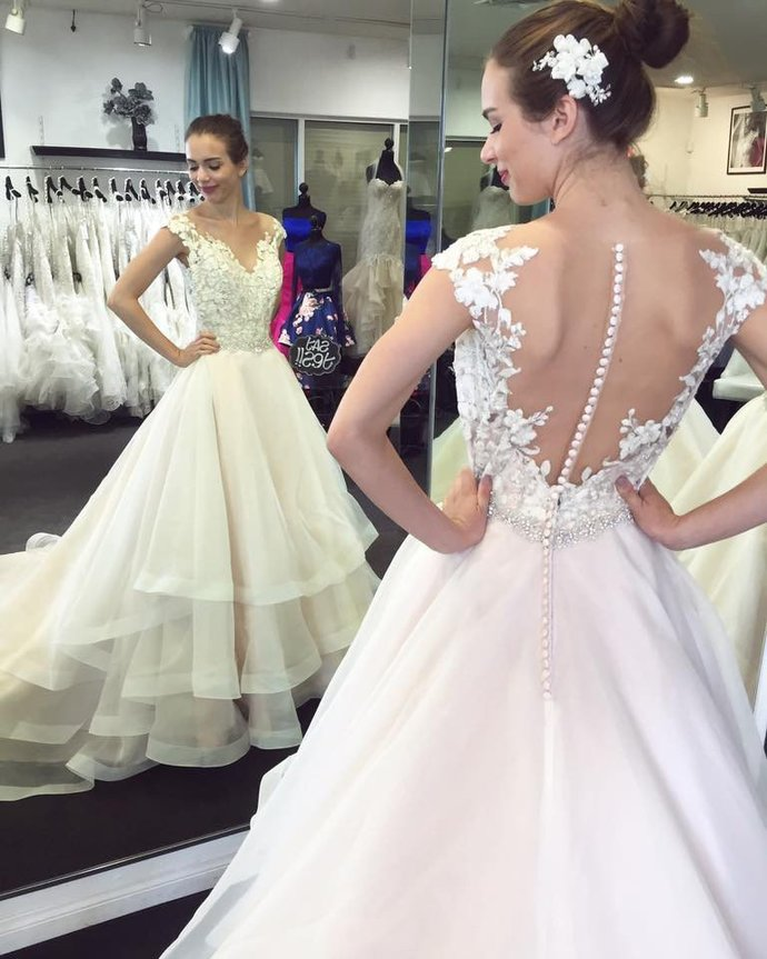 Lace Wedding Dress,Appliqued Wedding Dresses with Chapel Train,A Line Wedding