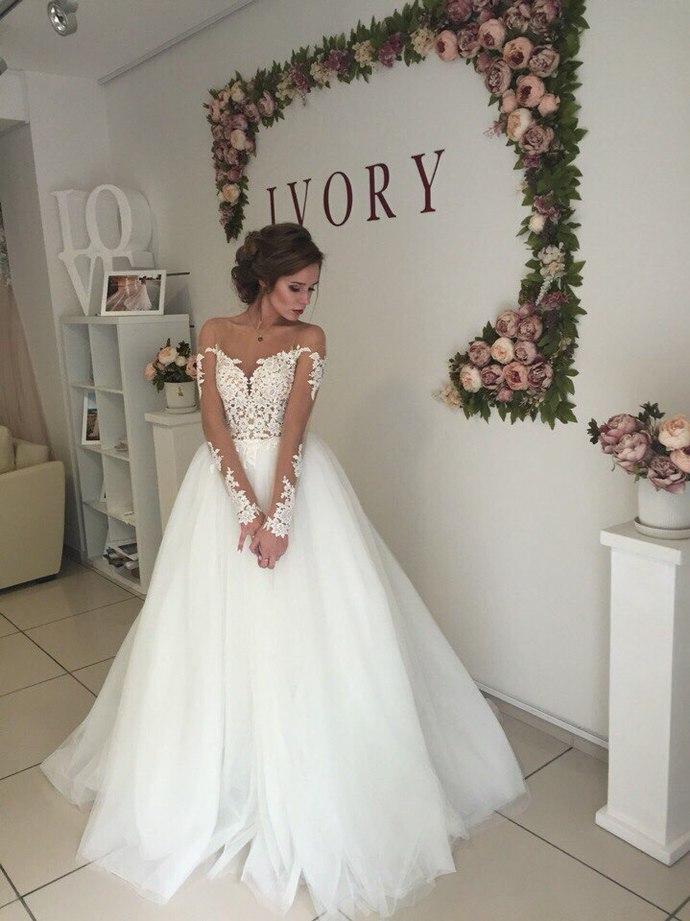 Cheap Wedding Dresses 2018long Sleeves Sheer Bateau By Lass On Zibbet