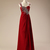 Wine Red Chiffon Beaded Long Straps Prom Dress, Prom Gowns, Party Dress