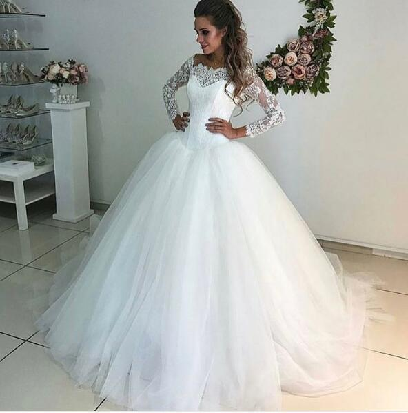 New Arrival Elegant Ball Gown Latest Wedding Dresses Appliques Lace Puffy Tulle