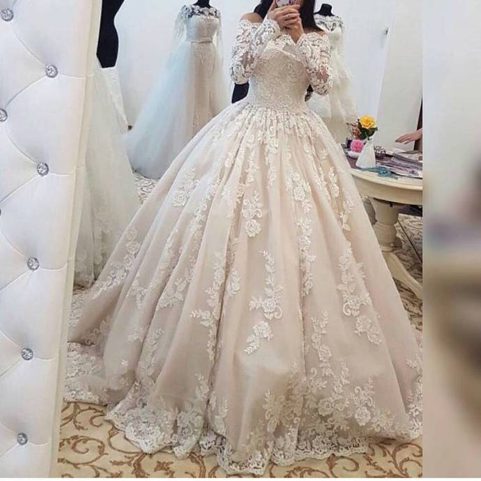 Romantic Lace Wedding Dresses With Long Sleeves Ball Lass