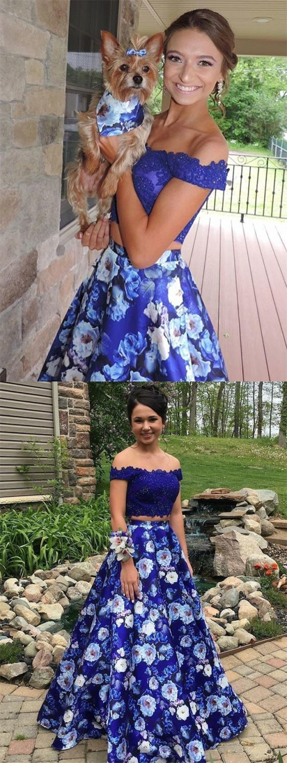 Two Piece Off-the-Shoulder Royal Blue Floral Prom Dress with Lace