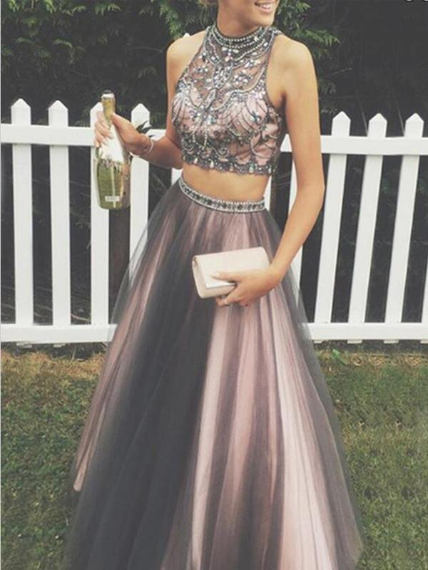 Sexy Two Pieces A line Beaded Evening Prom Dresses, Halter Long Tulle Party Prom