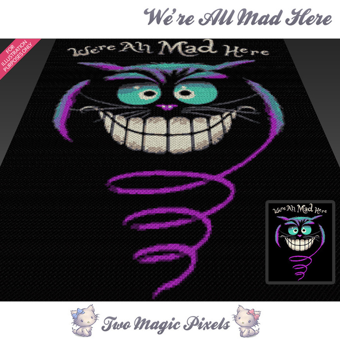 [C2C] We're All Mad Here crochet blanket pattern; cross stitch graph; pdf