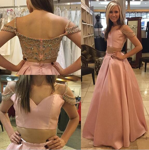 Cheap prom dresses 2018,Chic 2 pieces Beads Crystals Prom Dress,2018 Evening
