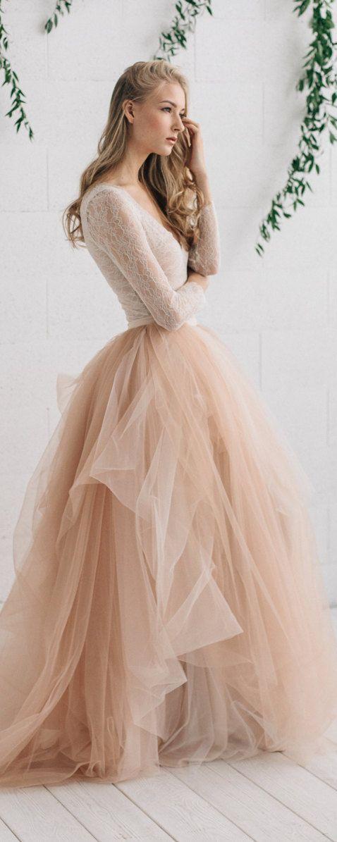 Alternative Wedding Dresses.Wedding Dress Champagne Nude Ivory Bridal Dress Two Piece Wedding Dress Alternative Wedding Dress Long Sleeve Tulle Dress