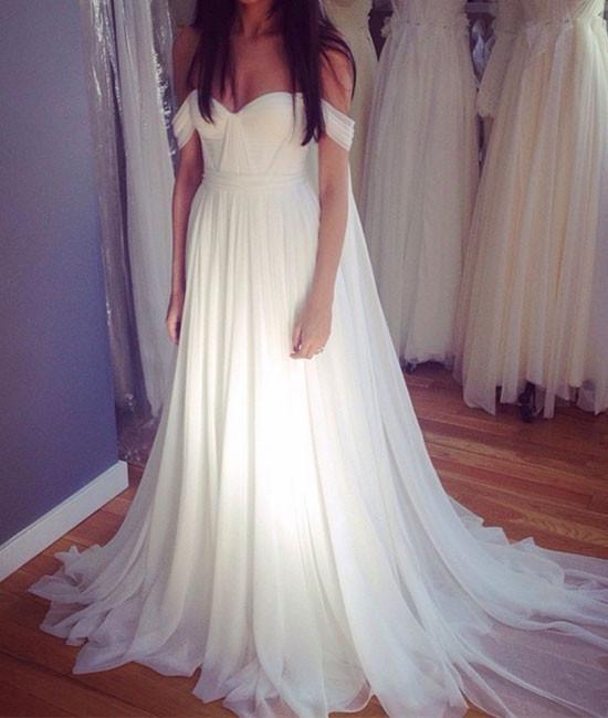 White Off Shoulder Chiffon Long Prom Dress, White wedding Dress 2018