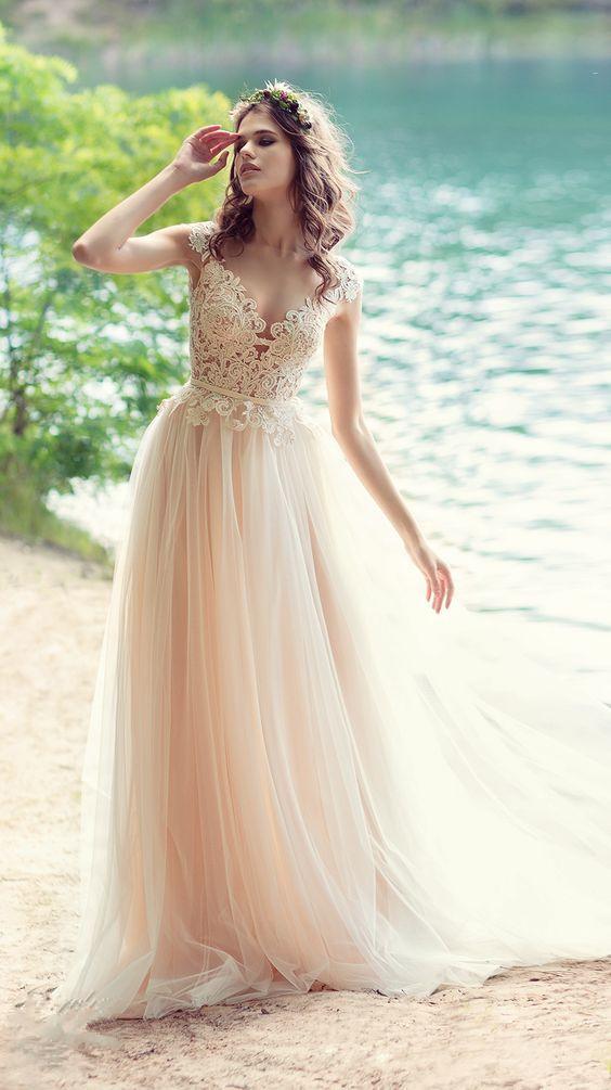 Sheer Lace Appliqués A-line Wedding Dress Featuring Open V Back 2018