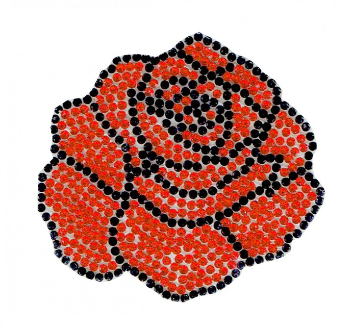 Red Rose Flower Diamond Patch Embroidered Iron on Patches Clothes Appliques Sew
