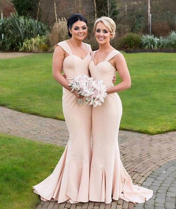 Charming Mermaid Nude Prom Dress, Mermaid Bridesmaid Dresses, Lomg Bridesmaids